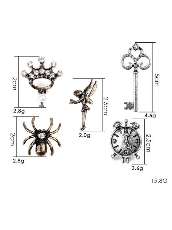 Spider Key Crown Clock Elf Brooch Set - SILVER  Mobile