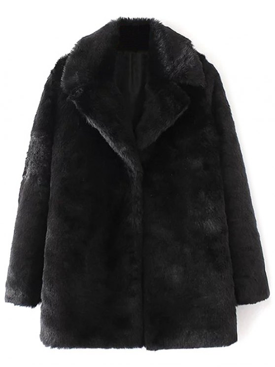 outfit Fitting Faux Fur Coat - BLACK S