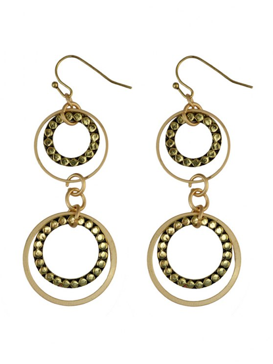 Rhinestone Circles Earrings - GOLDEN  Mobile
