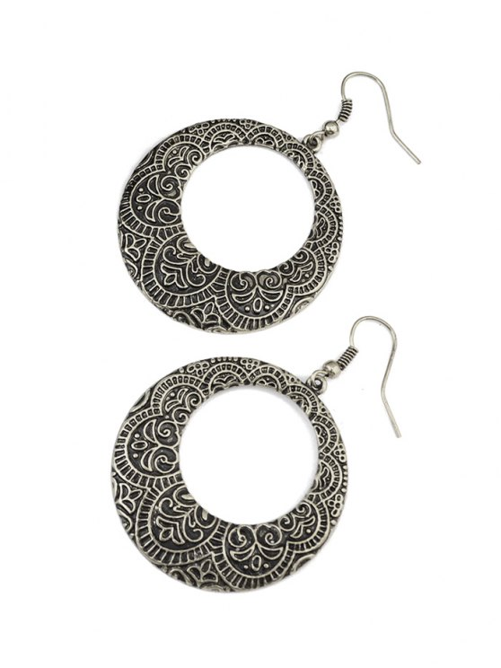 Etched Floral Circle Earrings -   Mobile
