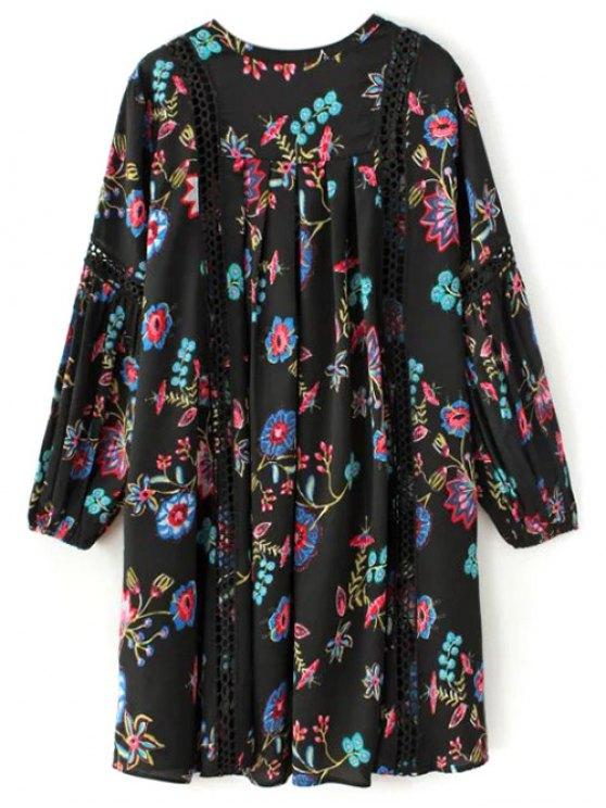 Floral High-Low Mini Tunic Dress - BLACK L Mobile