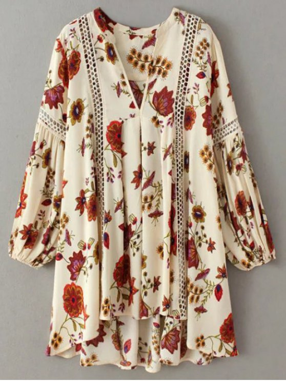 Floral High-Low Mini Tunic Dress - BEIGE L Mobile
