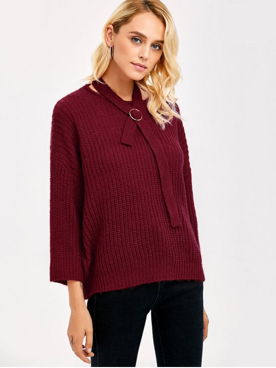 Drop Shoulder Bow Tie Sweater - BURGUNDY ONE SIZE Mobile