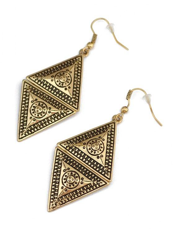 Geometric Panel Drop Earrings - GOLDEN  Mobile