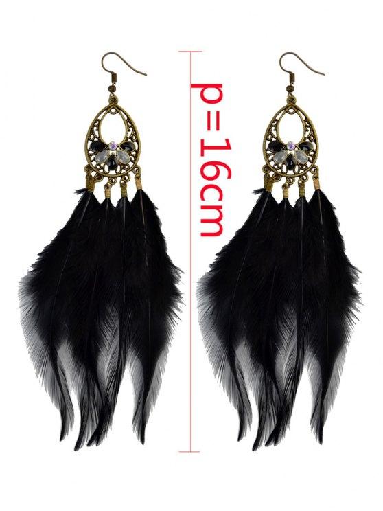 Bohemian Rhinestone Feather Teardrop Earrings -   Mobile
