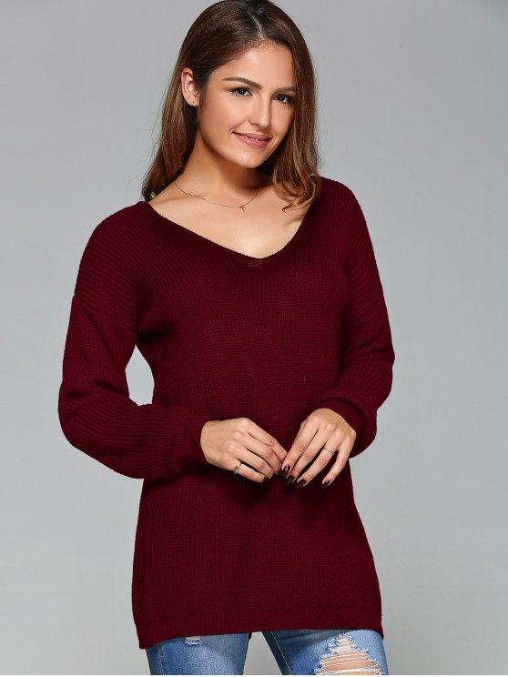 Drop Shoulder Lace Up Sweater - WINE RED XL Mobile