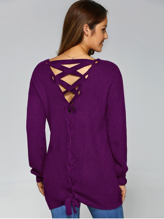 Drop Shoulder Lace Up Sweater - PURPLE M Mobile