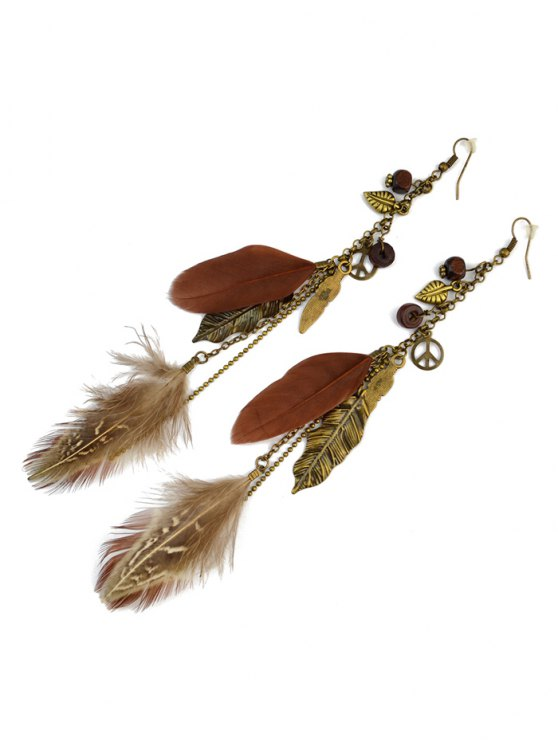 Peace Tree Leaf Feather Earrings -   Mobile