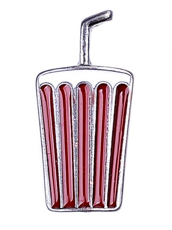 Beverage Lip Letters Brooch Set - RED  Mobile