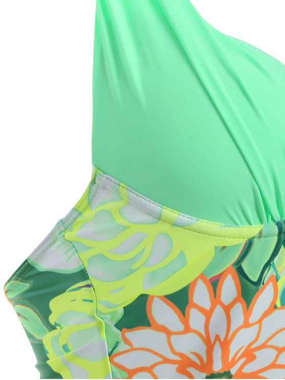 Floral Halter Underwire Tankini Swimsuit - GREEN L Mobile