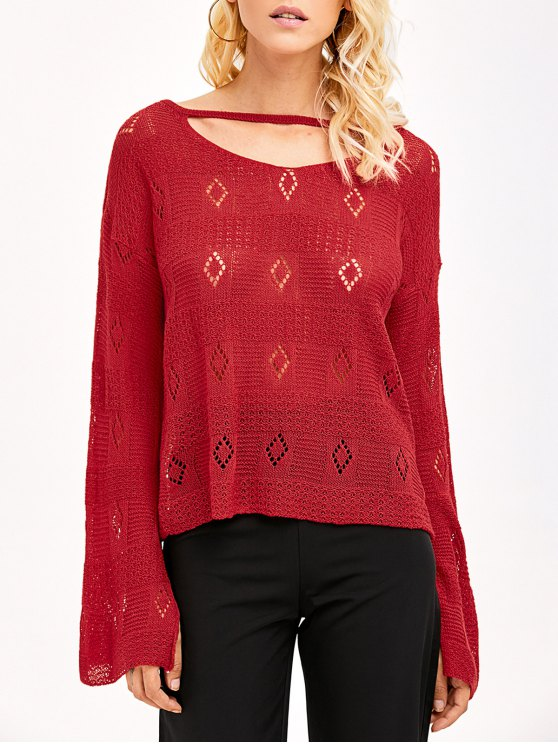 Slit Cuff Hollow Out Knitwear - RED ONE SIZE Mobile