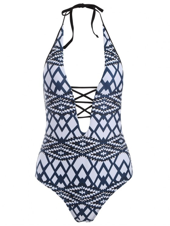 Geometric Cut Out One-Piece Swimwear -   Mobile