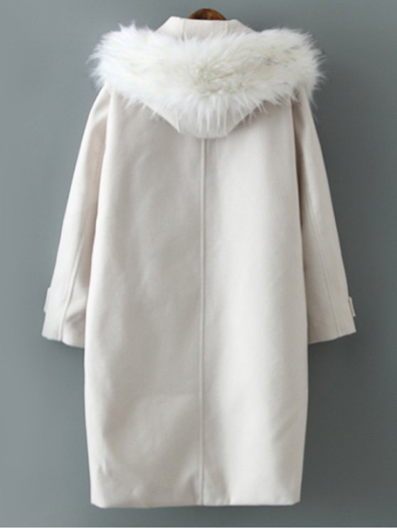 Fur Hooded Woolen Coat - OFF-WHITE L Mobile