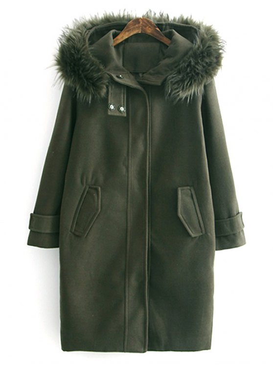 Fur Hooded Woolen Coat - ARMY GREEN L Mobile