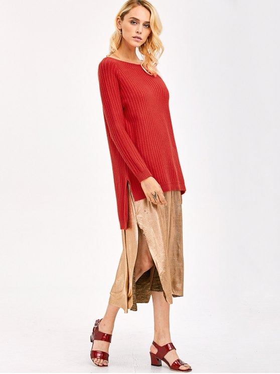 High Low Side Slit Knitwear - RED ONE SIZE Mobile