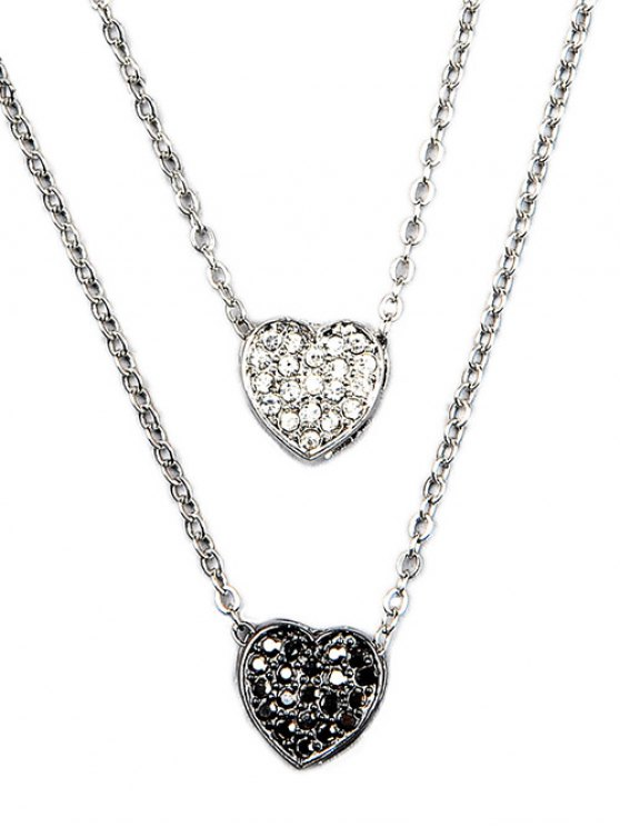 Rhinestone Layered Heart Necklace -   Mobile