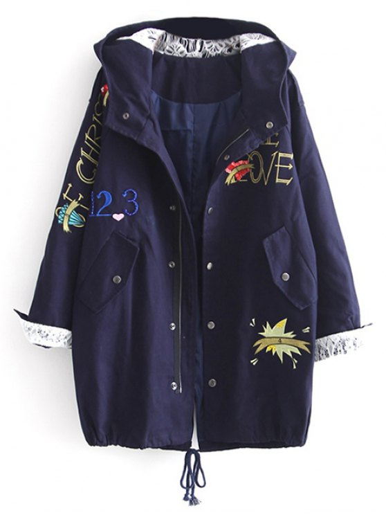 chic Letter Embroidered Hooded Sequins Coat - DEEP BLUE L