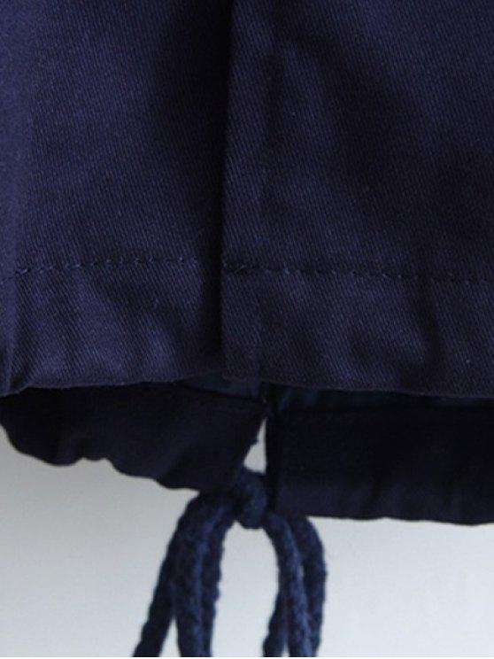 Letter Embroidered Hooded Sequins Coat - DEEP BLUE L Mobile