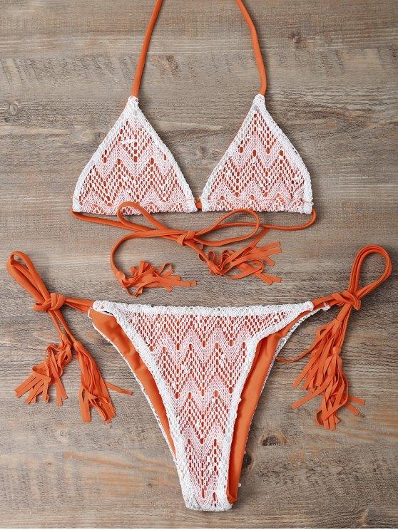 Halter String Tassels Bikini Set - ORANGEPINK S Mobile