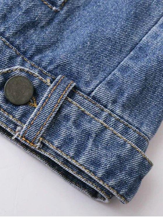 Cartoon Letter Patch Denim Jacket - DENIM BLUE S Mobile