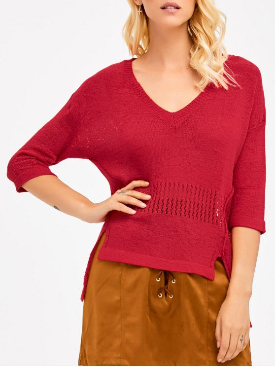 High Low Openwork Insert Knitwear - RED ONE SIZE Mobile