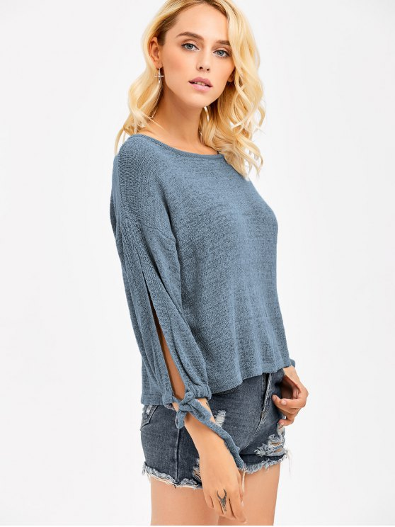 Slit Drop Shoulder Crop Knitwear - BLUE GRAY ONE SIZE Mobile