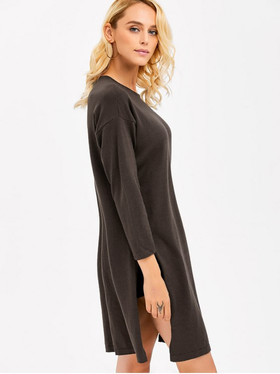 Longline Side Slit  Knitwear - ESPRESSO ONE SIZE(FIT SIZE XS TO M) Mobile