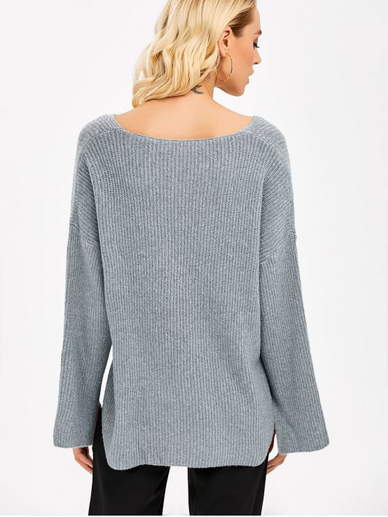 Slit Cuff Asymmetric Sweater - GRAY ONE SIZE(FIT SIZE XS TO M) Mobile