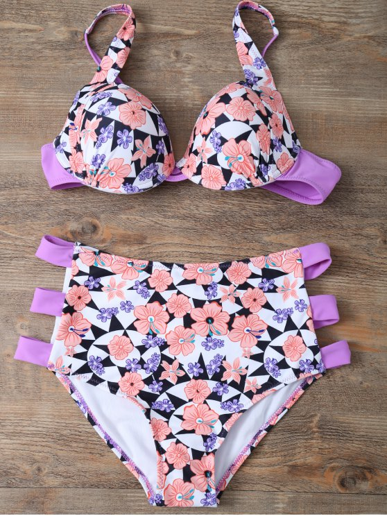 Cut Out Floral High Waisted Swimsuit - PINK M Mobile