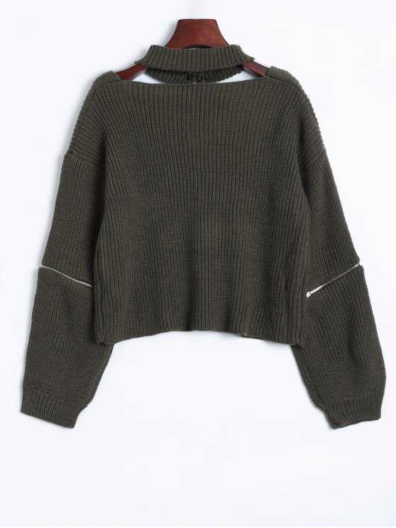 Zipper Choker Jumper - BLACKISH GREEN ONE SIZE Mobile