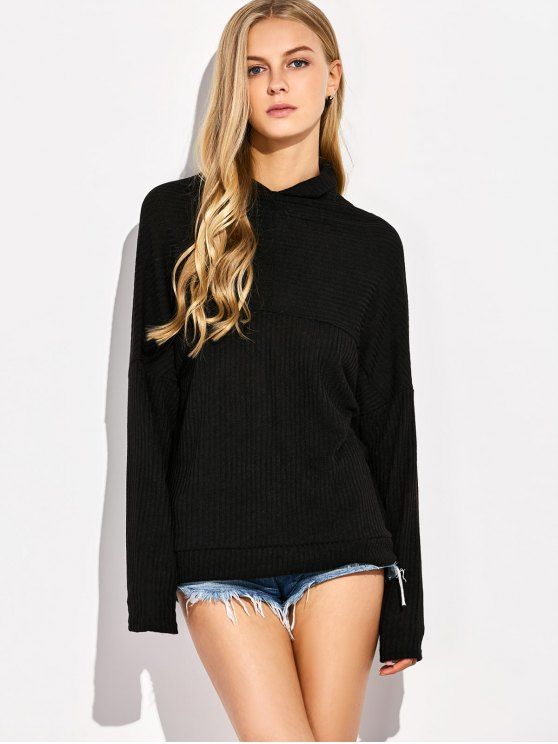 High Neck Batwing Sleeve Jumper - BLACK M Mobile