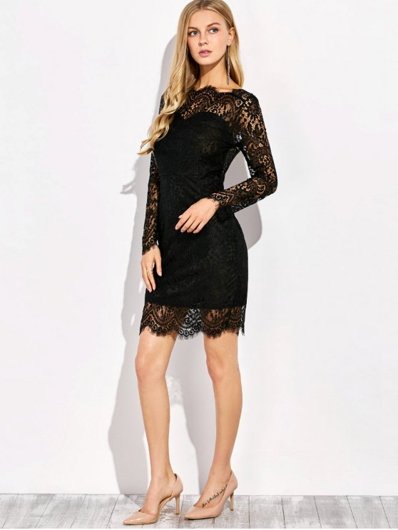V Back Lace Dress With Sleeves - BLACK L Mobile