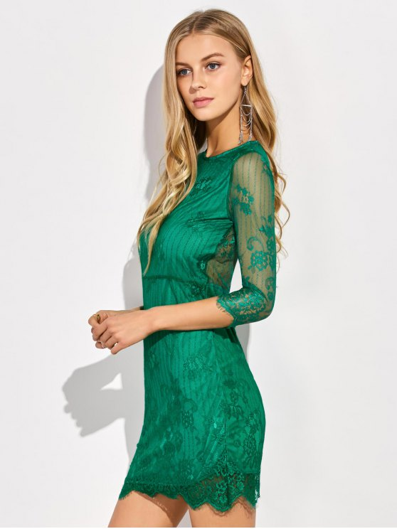 Scalloped Mini Floral Lace Dress - GREEN L Mobile