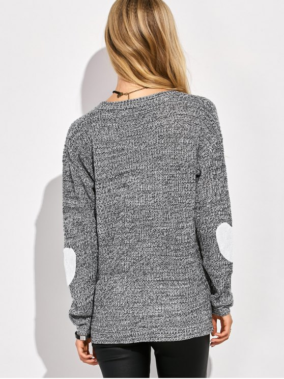 Heart Elbow Patch Round Neck Sweater - GRAY L Mobile