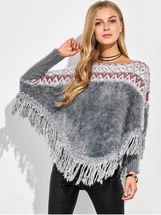 Tassels Fluffy Batwing Sweater -   Mobile