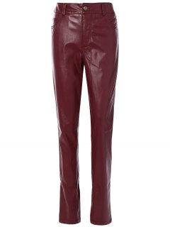 Skinny Pockets Faux Leather Pants - Burgundy S