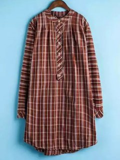 Plaid Buttoned Long Sleeve Dress - Jacinth 2xl