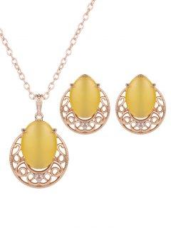 Rhinestone Faux Opal Jewelry Set - Yellow