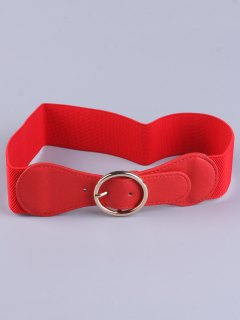 Bowknot Round Buckle Elastic Belt - Red
