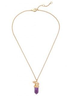 Faux Amethyst Bullet Elephant Necklace - Golden