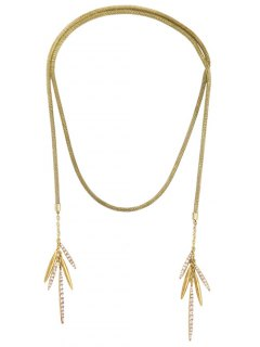 Rhinestone Leaf Tassel Snake Chain Necklace - Golden