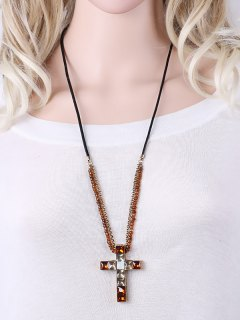 Beads Faux Crystal Cross Necklace - Brown