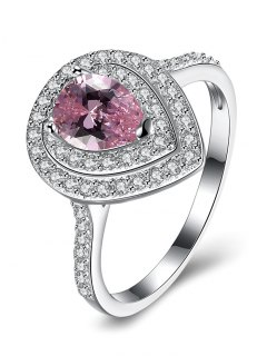 Teardrop S925 Fake Diamond Ring - Pink 8