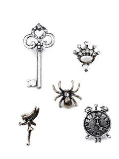 Spider Key Crown Clock Elf Brooch Set - Silver