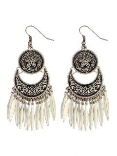 Moon Etched Flower Earrings - Silver