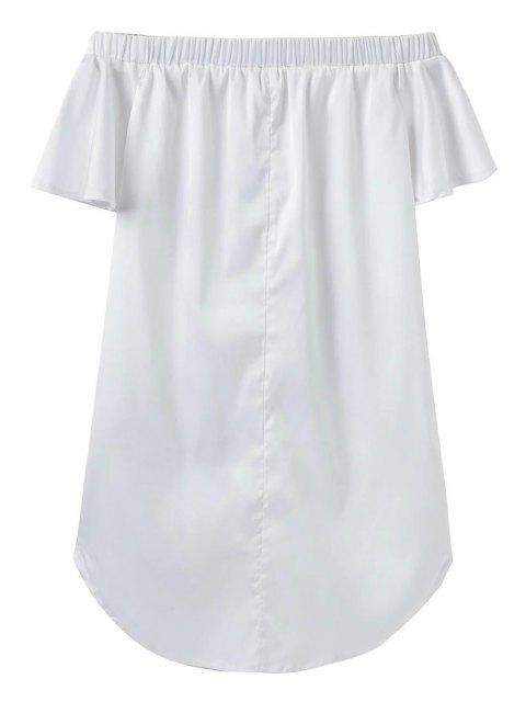 sale Off The Shoulder Floral Mini Dress - WHITE S Mobile