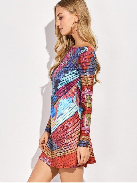 affordable Back Low Cut Tie-Dyed Colorful Dress - COLORMIX L Mobile