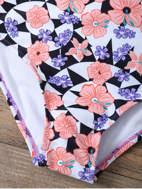 shops Cut Out Floral High Waisted Swimsuit - PINK S Mobile