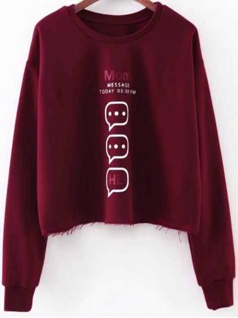 outfit Raw Edge Graphic Sweatshirt - RED S Mobile