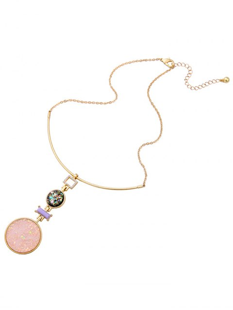 hot Fake Gem Round Pendant Necklace -   Mobile
